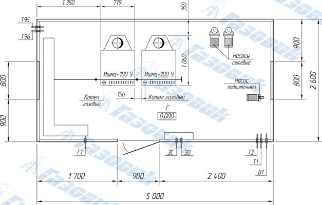 ...Т96 - дренаж от котлов; Г1 - ввод газа; ЭС - электроснабжение; ЭО...