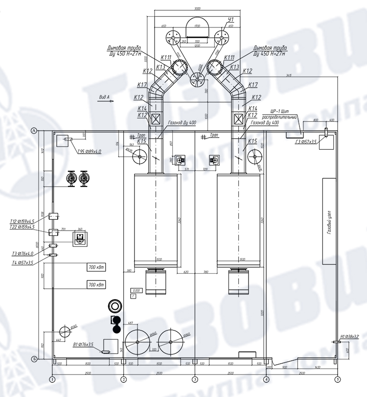 Схема ТКУ-3800 с газоходами