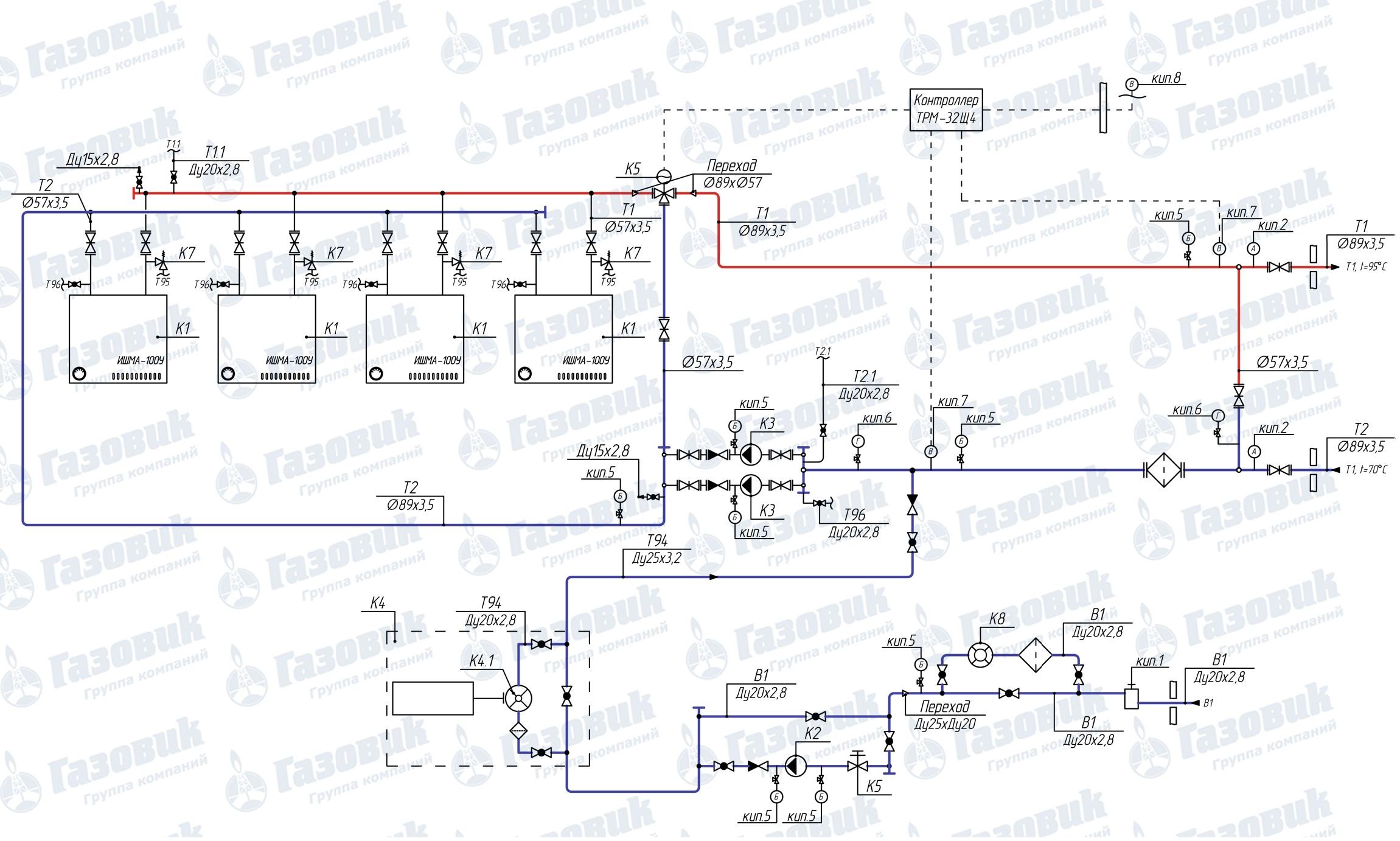 Схема трубопроводов на котельной