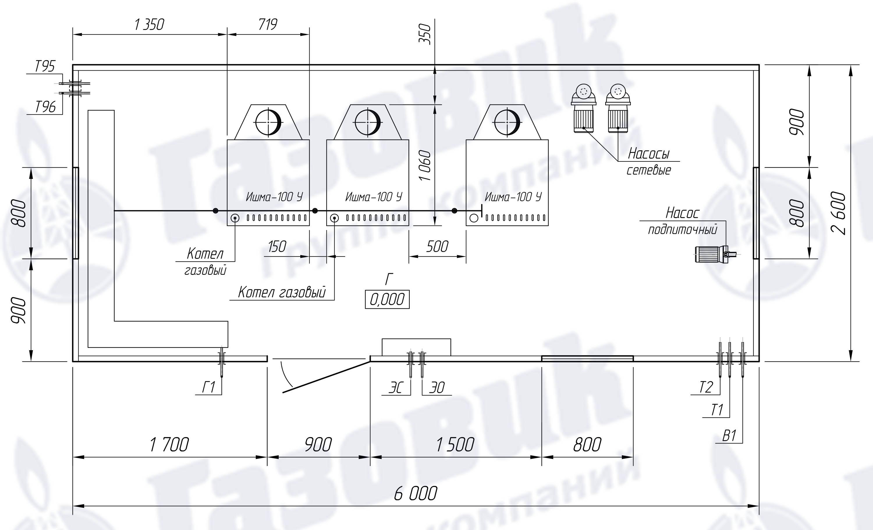 схема блочной газовая котельная установка 800